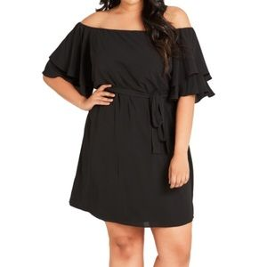 City Chic Off The Shoulder Shift Dress